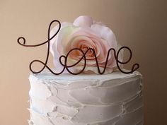LOVE Cake Topper - Vintage Wedding,  Shabby Chic Wedding, Wine Wedding, Rustic Wedding