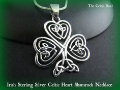 Large Sterling Silver Irish Heart Shamrock Celtic Necklace