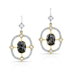 Sliced diamond earrings. - 18k white and yellow gold diamond sliced earrings.