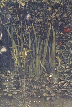 "Jan van Eyck ""Ghent Altarpiece,"" finished 1432. Detail: nature - detail"