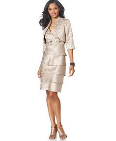 R Richards Dress and Jacket, Tiered Skirt Evening Dress - Womens Dresses - Macy's