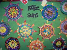 Aztec Suns - 5th grade...excellent lesson on this art blog!