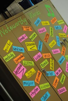Music word wall - magnetic on cabinet