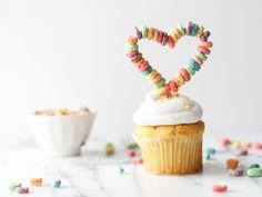 fruit loop heart cupcake topper