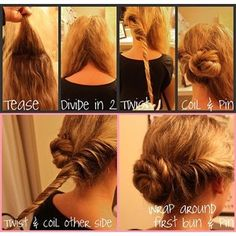 easy updo easi updo, nail, makeup, coil bun, hairstyl, beauti, hair style, twist bun, hair idea