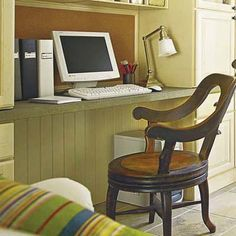 Hide Home Office Wiring  How to do it: Run wiring behind a beadboard panel in the knee-hole at the back of your desk. Velcro the panel to blocking mounted on the rear legs or sides of your desk so that you can pop it off to access the outlet.