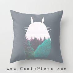 Totoro Forest Kawaii My Neighbor Woodland Throw Pillow 16x16 Cover Anime Decorative Mint Amethyst Grey Hayao Miyazaki Studio Ghibli Spring
