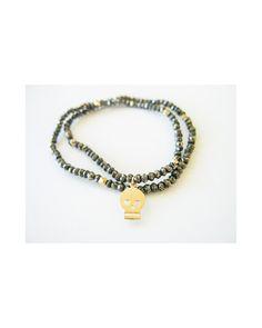 Pyrite and Skull Bracelet - JewelMint