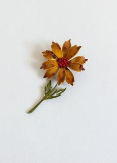 1960s MOD enamel flower brooch