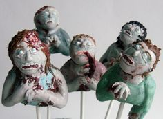 Zombie Cake Pops! This would be awesome for The Walking Dead premier next season