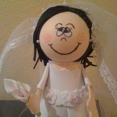 Fofucha novia detalle parte superior/Bride fofucha doll - upper part