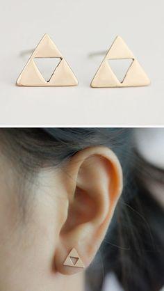 Triforce earrings by Upper Metal Class