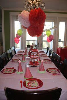 Strawberry Shortcake Party Table #strawberryshortcake #party