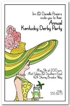 Derby Day LadyParty Invitation, Kentucky Derby Party Invitations | AnnouncingIt.Com