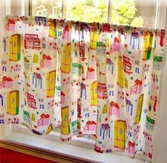 vintage housewife, breakfast nooks, colorful kitchens, kitchen curtains, cafe curtains