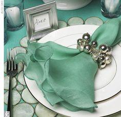 set napkin, napkin rings, napkins, colors, tabl, entertain idea, place set, parti idea, beauti color