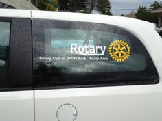 The Rotary Club of White Rock - Peace Arch in Canada created window clings promoting Rotary.