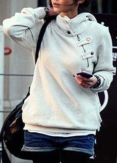 Charming Long Sleeve Hooded Collar Autumn Sweats