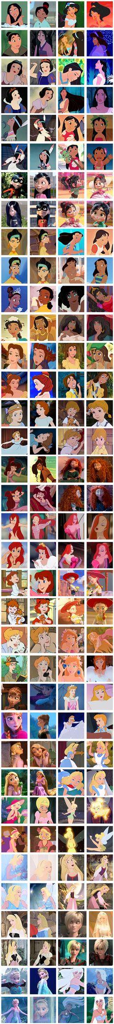 Disney Ladies sorted by hair color!