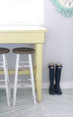 Kitchen bar stool before and after! @Lauren Jane Jane {lollyjane.com}