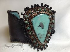 Aztec Blue An Art Piece Bracelet / Cuff created by by LynnParpard, $210.00