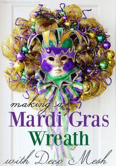 mardi gras wreath ideas deco mesh