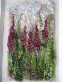 Foxgloves wool and silk embellished felt picture by Little Works of Art