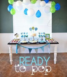 """Ready to Pop"" Blue  Green Baby Shower - Kara's Party Ideas - The Place for All Things Party"