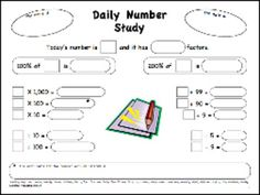 Here's a daily number study page useful for upper elementary grades.