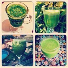 #atitudeboaforma: Top 4 suco verde, para refrescar essas tardes quentes de verão! ☀☀☀ @anadukan, @eliane_contreras, @nathylb e @happyfitnessblog #sucoverde #boaforma #sucos