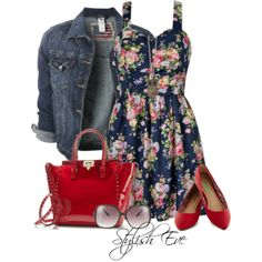 """Noha"" by stylisheve on Polyvore.. Gotta love a cute floral dress!"