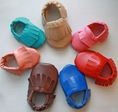 Adorable baby moccasins perfect for boys or girls.