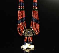 SILVER CORAL LAPIS NECKLACE