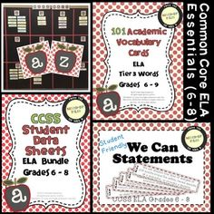 Complete back-to-school organization kit for implementing and documenting CCSS in your middle school ELA classroom!