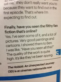 """Martin Freeman interview ... """"its like they've been spying"""" Martin you little troll!"""
