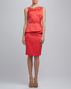 OSCAR DE LA RENTA Jewl Neck Slim Dress with Belt
