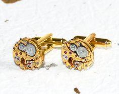 GIRARD PERREGAUX Steampunk Cufflinks - with Genuine Girard Perregaux watch movements! $130.00. Available at TimeInFantasy, $130.00 thing horolog, interest thing, men swiss, classi men, men fashion, haut horlogeri, girard perregaux, swiss haut, luxuri watch