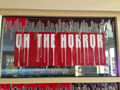Library Displays: Oh the horror (like the drippy letters)