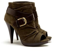 Olive You - Open Toe High Heel Booties with Buckle #shoes #ladies #fashion #bootie #boots #green
