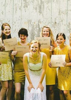 bridesmaid colors, the bride, yellow mismatched bridesmaids, mismatch bridesmaids, parti