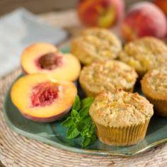 Fresh Peach Paleo Muffins - 1 cup peeled and diced fresh peaches, 2 c almond flour, 1/2 t baking soda, 1/8 t sea salt, 3 eggs 2 T ghee, 2 T honey, 1 T lemon juice
