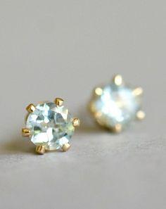 Tiny pale blue topaz earrings. By Kahili Creations of Hawaii...
