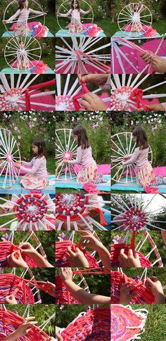 Rug weaving on hula hoop