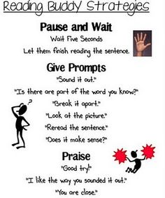 I could envision seeing one of these but for math buddies. The pause time and praise is important, and the prompts could be something like: What did you do first? Could we model or making a drawing? What do you know for sure?, etc.
