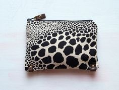 A N I M A L Clutch. Make up Bag. Black and White Clutch. $58.00, via Etsy.