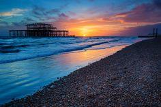 Brighton West Pier at sunset, Sussex, #UK