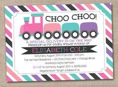 Girls Train Printable Baby Shower Invitation