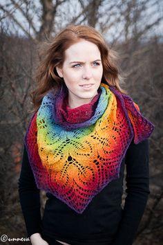 Gorgeous shawl! craft, crochet, shawl patterns, knit, rainbow shawl, scarv, yarn, bold colors, design