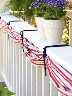 festive decor...red + white stripes, blue flowers