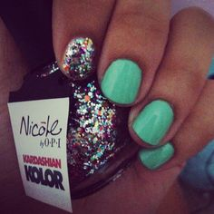 "Mint and multicolor sparkle. Nicole by OPI kardashian kolor ""rainbow in the sky-lie"""
